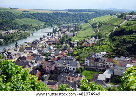 Rosport village and Mosell valey in Luxembourg