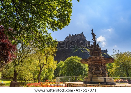 Ross fountain landmark in Pinces Street Gardens and Edinburgh Castle, Scotland, UK - stock photo