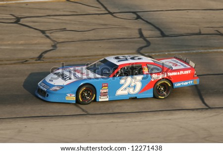 Ross Kenseth racing at age 14 at at Madison International Speedway opener May 4, 2008 - stock photo