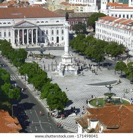 Rossio square. Lisbon - capital of Portugal - stock photo