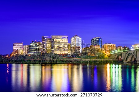 Rosslyn, Arlington, Virginia, USA city skyline on the Potomac River. - stock photo