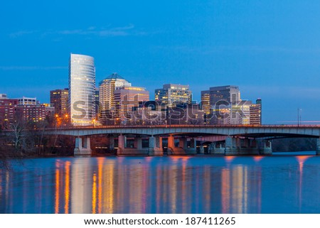 Rosslyn skyscrapers at twilight in Washington DC  United States - stock photo