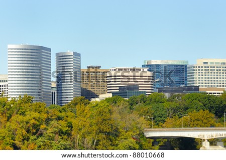 Rosslyn Virginia skyline viewed from DC - stock photo