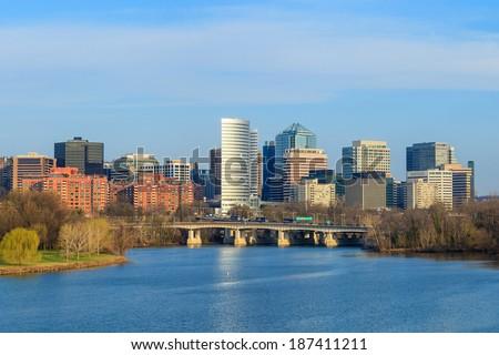 Rosslyn Virginia skyline viewed from Memorial Bridge, Washington, DC - stock photo