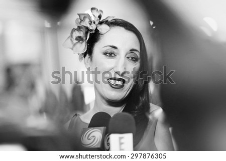 Rossy de Palma, Spanish actress with fans during the 68th annual Cannes Film Festival on May 13, 2015 in Cannes, France. - stock photo