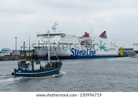 ROSTOCK, GERMANY - AUGUST 02, 2014: Train ferry Mecklenburg-Vorpommern, the world's largest ferry operator Stena Line in the seaport of Rostock. Rostock is Germany's largest Baltic port.