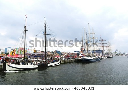ROSTOCK, Mecklenburg-Vorpommern/ GERMANY AUGUST 13 2016: Hansesail in Warnemuende and Rostock harbor with lots of sailing ship from all over the world.