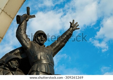 Rostov - on - Don, Russia - August 24, 2015:  Monument to  Soviet soldiers heroes of the Second World War, established in Rostov - on - Don.