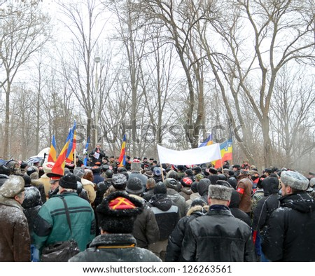 "ROSTOV-ON-DON, RUSSIA - JANUARY 26: The rally of the Cossacks under the slogan ""The Cossacks - The people"" - the recognition nationalities ""Cossack"", January 26, 2013 in Rostov-on-Don, Russia"