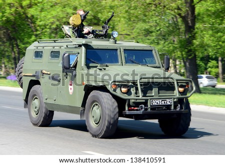 ROSTOV-ON-DON, RUSSIA - MAY 7: Military equipment - a dress rehearsal for the Victory Day parade to celebrate the 68th anniversary of Victory Day (WWII), May 7, 2013 in Rostov-on-Don, Russia