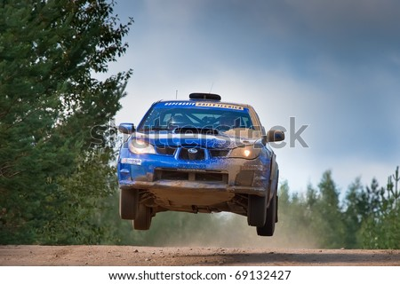 ROSTOV, RUSSIA - SEPTEMBER 05: Uriy Volkov drives a Subaru Impreza  car during Rostov Velikiy Russian rally championship on September 05, 2010 in Rostov, Russia.