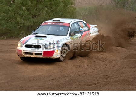 ROSTOV, RUSSIA - SEPTEMBER 05: Vadim Michaylov drives a Subaru Impreza  car during Rostov Velikiy Russian rally championship on September 05, 2010 in Rostov, Russia.