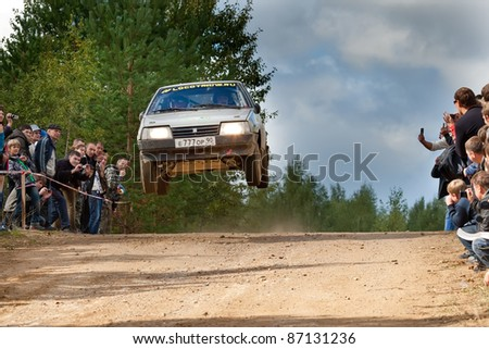 ROSTOV, RUSSIA - SEPTEMBER 05: Yan Vedov drives a grey Lada car during Rostov Velikiy Russian rally championship on September 05, 2010 in Rostov, Russia.