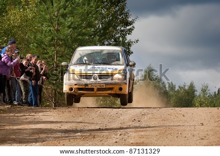 ROSTOV, RUSSIA - SEPTEMBER 05: Yan Vedov drives a grey Renault logan car during Rostov Velikiy Russian rally championship on September 05, 2010 in Rostov, Russia.