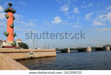 Rostral Column in Saint Petersburg, Russia - stock photo