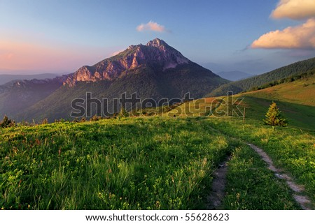 Roszutec peak in evening Slovakia mountain - stock photo