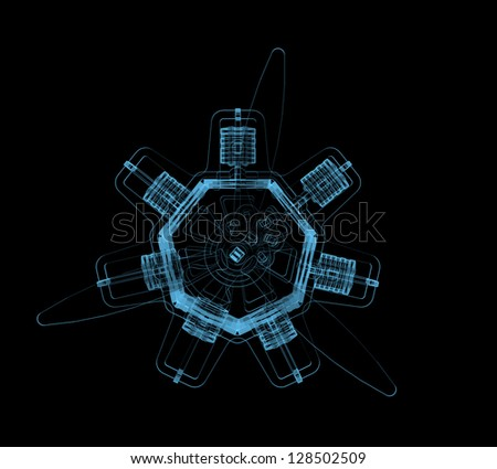 Rotary engine (3D x-ray blue transparent isolated on black) - stock photo