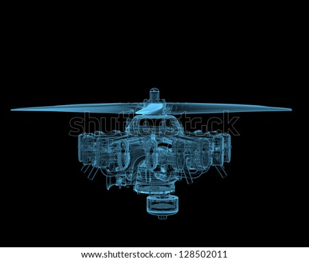 Rotary engine with propeller (3D x-ray blue transparent isolated on black) - stock photo