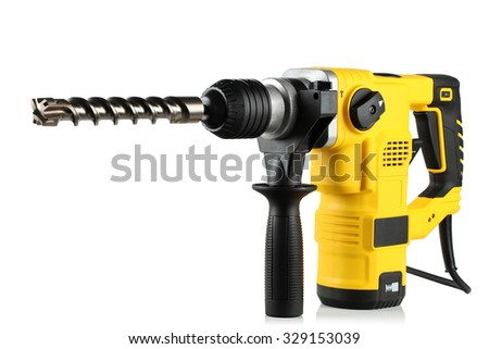 rotary hammer with a drill on white background - stock photo