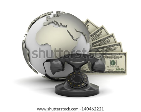 Rotary phone, dollar bills and earth globe - stock photo