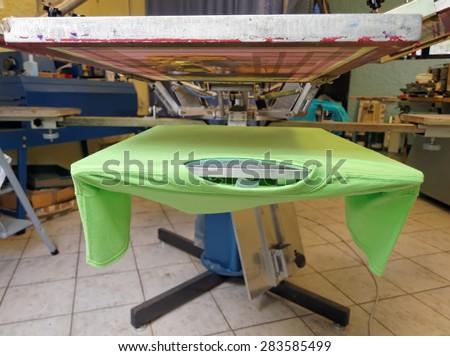 rotary screen printing machine - stock photo