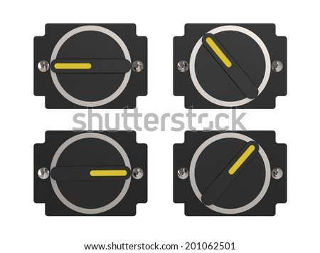 Rotate switches in different positions isolated on white - stock photo