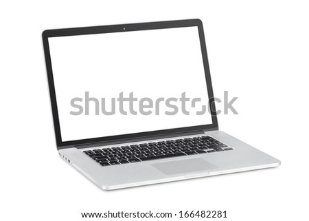 Rotated at a slight angle modern laptop with tilted back white monitor is isolated on white background. High quality. - stock photo