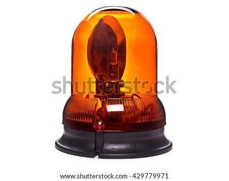 rotating beacon machines on a white background.Yellow Light siren - stock photo