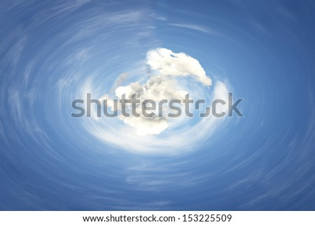 Rotating blue sky with white clouds - stock photo