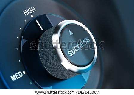 Rotating button with the word success, arrow pointing to the high. 3D render, concept image for motivation - stock photo