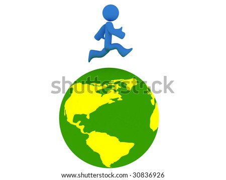 Rotating 3d globe animation with running person