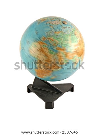 Rotating globe selected on a white background - stock photo