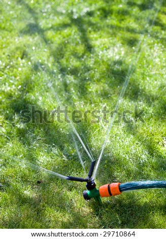Rotating sprinkler on the green grass