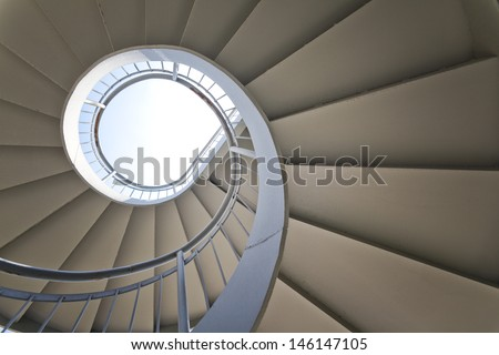 Rotation of the outdoor staircase - stock photo