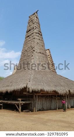 Rotenggaro village, Kodi province, West Sumba, Indonesia - September 24 2015 : traditional village Rotenggaro with houses having very high roof tops. The higher the roof, the higher the status