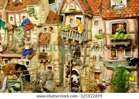 ROTHENBURG OB DER TAUBER, GERMANY - AUGUST 10, 2015: Part of the interior of the world famous Christmas Kathe Wohlfahrt Store. - stock photo