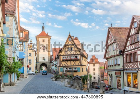 Rothenburg ob der Tauber historic town downtown, Franconia, Bavaria, Germany - stock photo