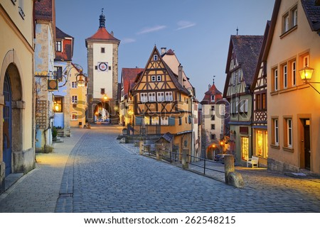 Rothenburg ob der Tauber. Image of the Rothenburg ob der Tauber a town in Bavaria, Germany, well known for its well-preserved medieval old town. - stock photo
