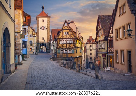 Rothenburg ob der Tauber. .Image of the Rothenburg ob der Tauber a town in Bavaria, Germany, well known for its well-preserved medieval old town. - stock photo