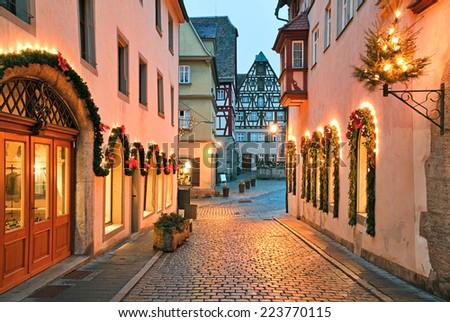 Rothenburg ob der Tauber is one of the most beautiful and romantic villages in Europe, Franconia region of Bavaria, Germany. - stock photo