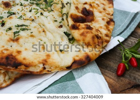Roti or Indian Naan close up, selective focus