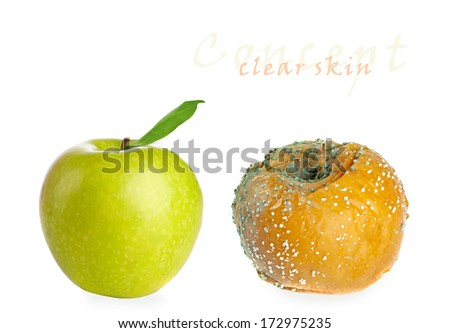 Rotten apple and fresh apple isolated on white background. Clear Skin concept  - stock photo