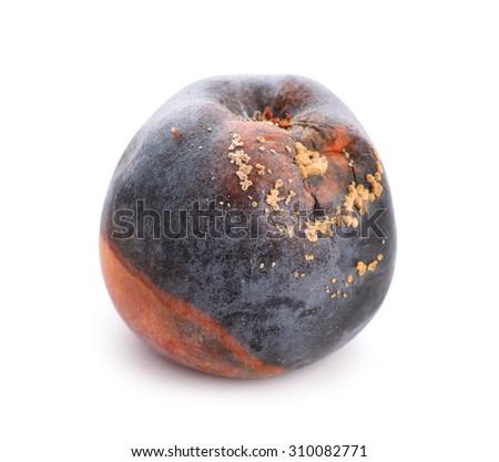 Rotten apple isolated. - stock photo
