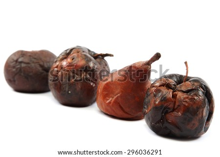 Rotten apple isolated on white background. - stock photo