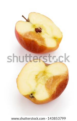 rotten apple on a white background