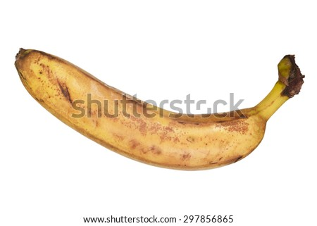 Rotten banana isolated on white with clipping path - stock photo