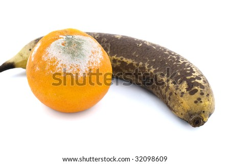 Rotten orange and banana isolated on white - stock photo