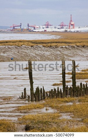 Rotten timber remains of a disused pier at Portishead UK with Avonmouth and Portbury docks on the horizon - stock photo