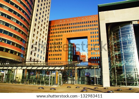 ROTTERDAM, HOLLAND - AUGUST 02: Panoramic view over Wilhelminahof. Wilhelminahof includes four office buildings a new Palace of Justice on August 02, 2012 in Rotterdam, Holland.
