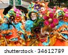 ROTTERDAM, HOLLAND - JULY 25: Masked participant in the parade of the annual Summer Carnival in Rotterdam on July 25, 2009 in Rotterdam, Holland - stock photo
